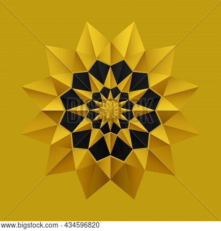 Gold Black Origami Flower Pattern Mandala Style. 3d Geometric Shapes. Element Design For Publication