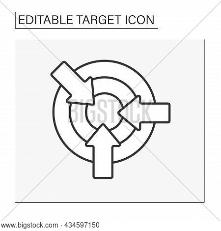 Goal Line Icon. Object With Concentric Circles For Shooting Practice Or Contests. Three Arrows. Goal