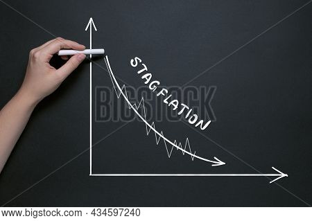 Chalk Drawing Of Falling Gdp, Recession In Economic Growth With High Inflation, Stagflation Concept