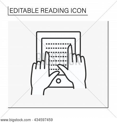 E-book Line Icon. Electronic Device For Book Reading. Braille Books For Blind People. Lesson. Readin