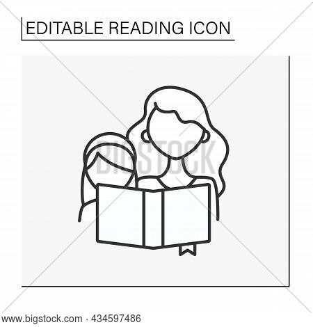 Reading Line Icon. Mom And Daughter Opened The Book. Read Fairy Tales At Nighttime. Brain Training.