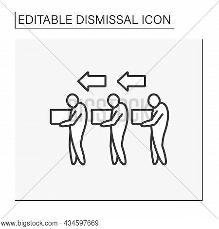 Job Loss Line Icon. Group Dismissal. Job Cuts. Unhappy Workers With Boxes Go Home. Dismissal Concept