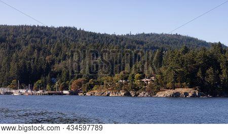 Salt Spring Island, British Columbia, Canada - August 23, 2021: Fulford Harbour Ferry Terminal Durin
