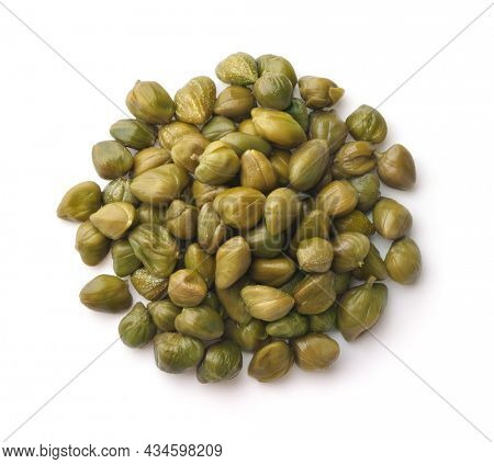 Top view of of pickled capers isolated on white