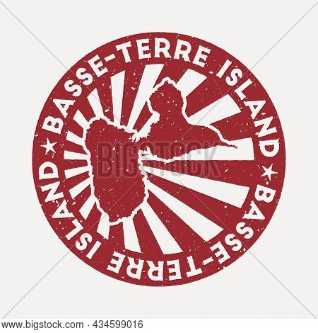 Basse-terre Island Stamp. Travel Red Rubber Stamp With The Map Of Island, Vector Illustration. Can B