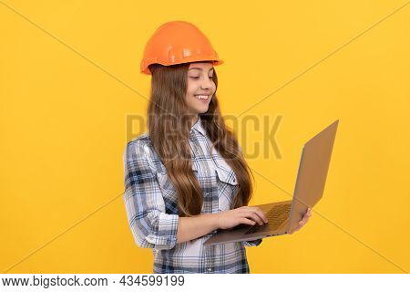 Check The Email. Happy Labour Day. Future Career. Teen Girl In Helmet Use Laptop.