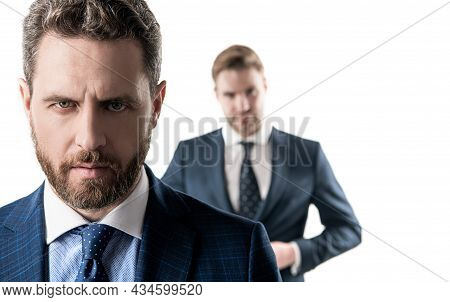 Serious Male Face. Serious Businessman Isolated On White. Professional Man With Unshaven Face