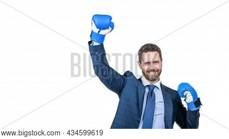 Confident Man Ready For Corporate Battle. Business Knockout. Boss Show Power And Authority.
