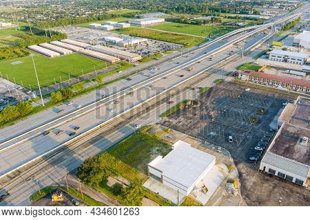 Aerial Overlooking Houston City Of Beautiful Highway Texas With Traffic Line In 45 Interstate Expres