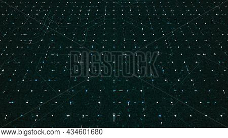 Computer Chip With Moving Dots And Lines. Animation. Moving System Of Electronic Particles Inside Co