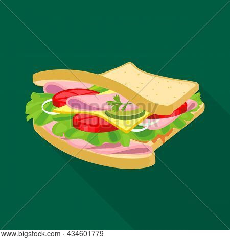 Isolated Object Of Burger And Bread Symbol. Graphic Of Burger And Ham Vector Icon For Stock.