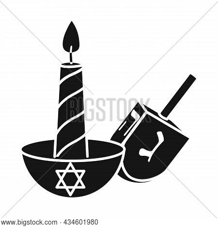Vector Illustration Of Candle And Dreidel Symbol. Graphic Of Candle And Star Stock Vector Illustrati