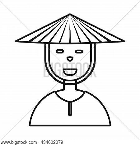 Isolated Object Of Vietnamese And Portrait Logo. Set Of Vietnamese And Costume Stock Symbol For Web.