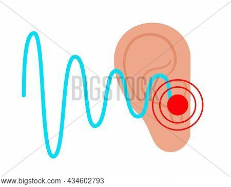 Tinnitus Disease Concept. Pain, Inflammation In Human Ear. Symbol Of Earache, Ringing And Loud Sound