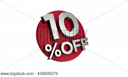 10 Percent Off 3d Sign On White Special Offer 10% Discount Tag Flash, Sale Up To Ten Percent Off, Bi