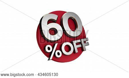 60 Percent Off 3d Sign On White Special Offer 60% Discount Tag Flash, Sale Up To Sixty Percent Off,