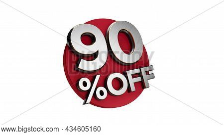 90 Percent Off 3d Sign On White Special Offer 90% Discount Tag Flash, Sale Up To Ninty Percent Off,