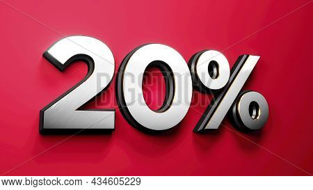 Silver Gold 20 Percent Off Sign On Red Background, Special Offer 20% Discount Tag, Sale Up To 20 Per