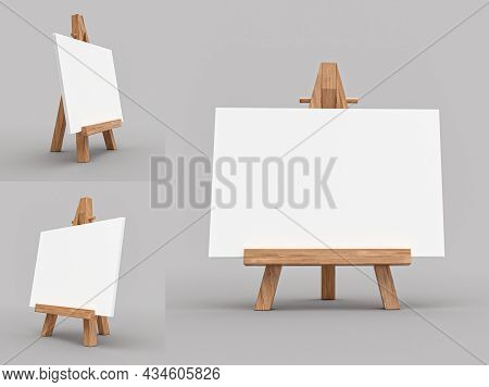 Blank Calendar Mockup, Easel For Artist. Tripod For Painting With Empty Canvas. 3d Rendering, 3d Ill