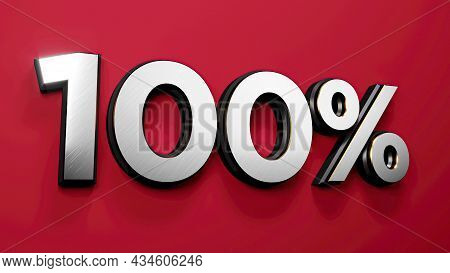 Silver Gold 100 Percent Off Sign On Red Background, Special Offer 100% Discount Tag, Sale Up To Hund
