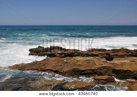 Rocky shoreline ledge