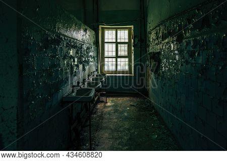 Inside Old Asylum For The Insane. Dark Creepy Abandoned Mental Hospital.