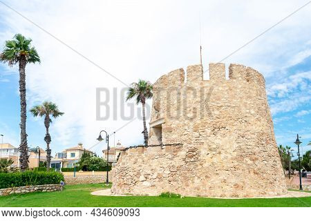 The Tower Of The Moor Or Cabo Cervera At Cabo Cervera In Torrevieja, Alicante. Valencian Community.
