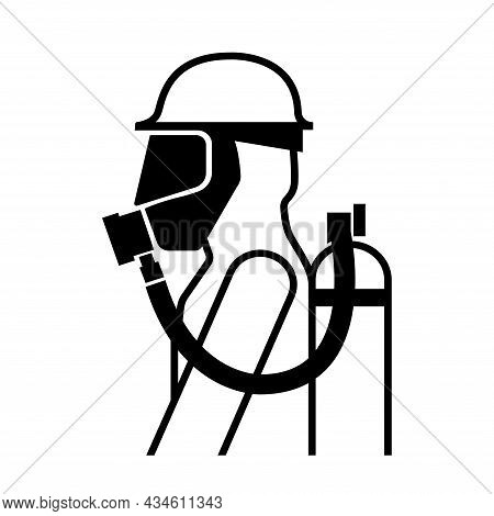 Breathing Apparatus Black Icon ,vector Illustration, Isolate On White Background Label. Eps10