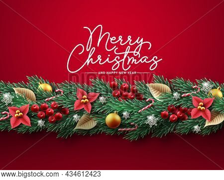 Christmas Garland Vector Background Design. Merry Christmas Greeting Text In Red Space With Pine Tre