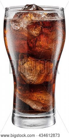 Cold glass of cola drink with ice cubes isolated on white background. File contains clipping path.
