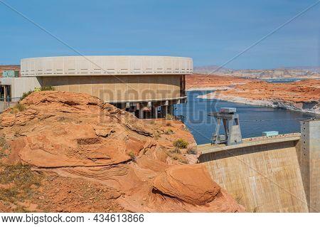 A Concrete Arch Gravity Dam In Glen Canyon Nr, Arizona