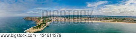 Aerial view over the village and bay of São Martinho do Porto, west Portugal