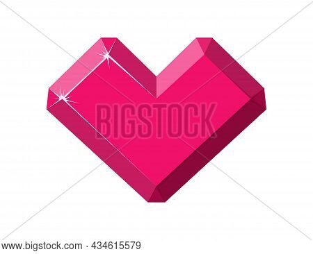 Heart-shaped Red Gemstone. Ruby Side View. Cartoon Vector Illustration