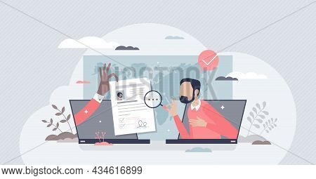 Hiring Remotely And Send Job Application Or Cv Online Tiny Person Concept. Distant Freelance Work Re