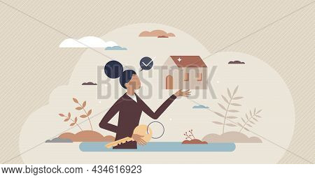 Realtor As Real Estate Agent Occupation With House Offer Tiny Person Concept. Professional Female Wi