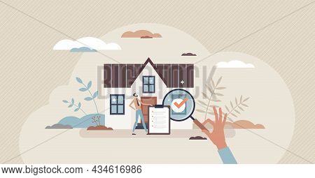 Real Estate Appraiser As Property Evaluation For Sale Tiny Person Concept. Estimate Value Inspection