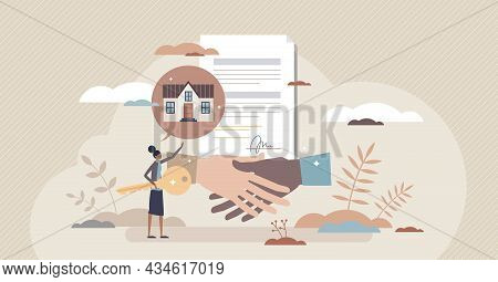 Real Estate Contract And House Purchase Agreement Deal Tiny Person Concept. Successful Application T