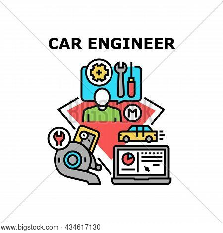 Car Engineer Vector Icon Concept. Car Engineer Man Checking And Repairing Automobile, Engine And Bod