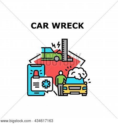 Car Wreck Crash Vector Icon Concept. Car Wreck Crash, Fire Accident And Calling To Emergency Rescue