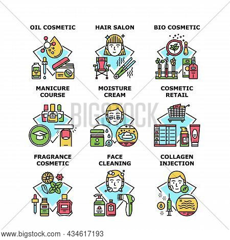 Cosmetic Retail Set Icons Vector Illustrations. Moisture Cream And Oil Bio Cosmetic Retail, Face Cle