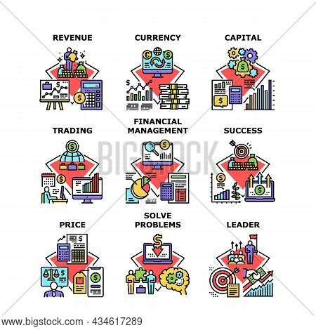 Finance Revenue Set Icons Vector Illustrations. Finance Revenue And Currency Capital, Financial Mana