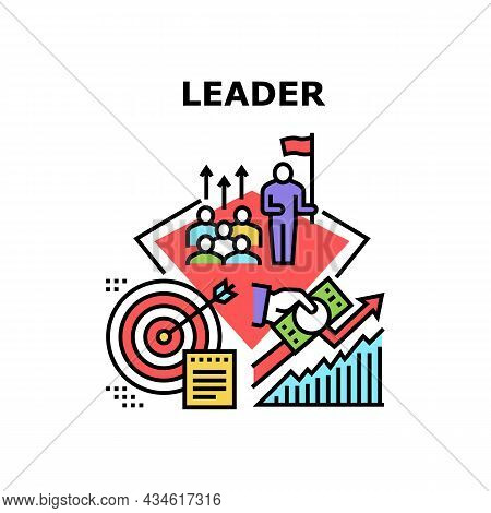 Financial Leader Vector Icon Concept. Financial Leader Teaching Team For Earning Money And Success A