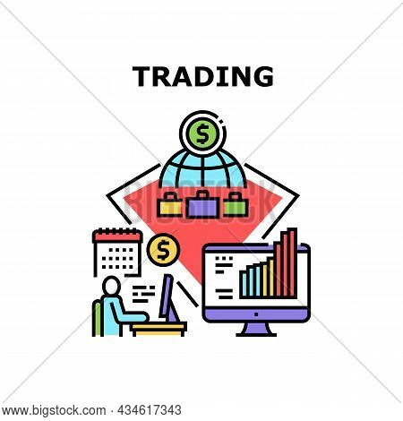 Trading Business Vector Icon Concept. Online Market Researching And Trading Business Working Manager