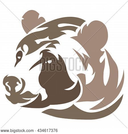 The Face Of A Brown Bear Silhouette Is Drawn With Lines Of Different Widths. Design For Tattoos, Dec