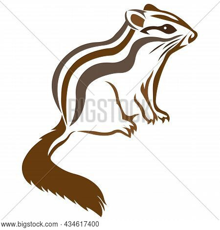 Silhouette, Contour Of A Rodent, Chipmunk, Painted In Natural Brown With Lines Of Different Widths.