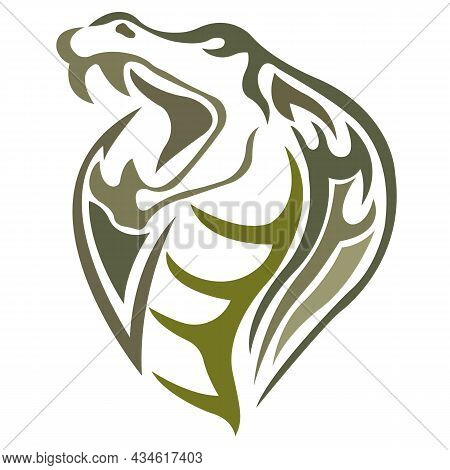 Muzzle Of The Viper Snake Silhouette Is Drawn In Green With Lines Of Different Widths.design For Tat