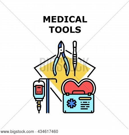 Medical Tools Vector Icon Concept. Doctor Medical Tools For Surgery Operation And Health Treatment.