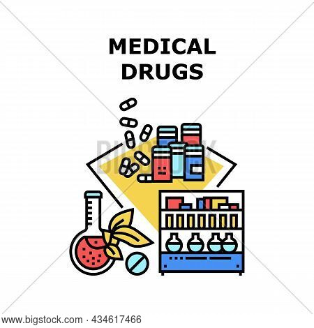 Medical Drugs Vector Icon Concept. Natural Bio Medical Drugs Selling On Pharmacy Store Shelf. Health