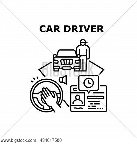 Auto Car Driver Vector Icon Concept. Auto Car Driver Beeping For Accident Prevention And Expiration