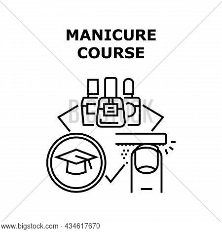 Manicure Course Vector Icon Concept. Beautician Students Manicurist Practicing And Educate On Manicu
